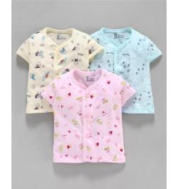 Pink Rabbit Half Sleeves Printed Vest Pack of 3 - Pink Blue Yellow