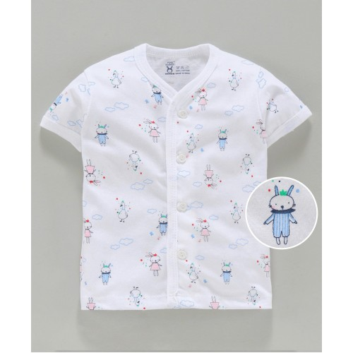 Pink Rabbit Half Sleeves Vest Multi Print - White