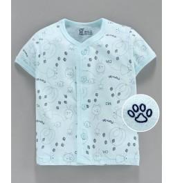 Pink Rabbit Half Sleeves Vest Paw Print - Blue