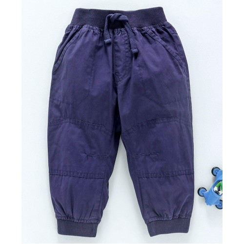 Cucumber Full Length Jogger Pants With Drawstring - Navy Blue