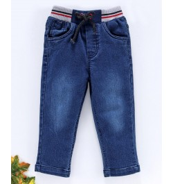 Doreme Full Length Jeans With Drawstrings - Navy Blue
