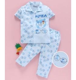Pink Rabbit 100% Cotton Half Sleeves Night Suit Bear Print - Blue