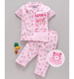Pink Rabbit 100% Cotton Half Sleeves Night Suit Bear Print - Pink