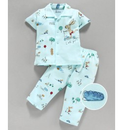 Pink Rabbit 100% Cotton Half Sleeves Night Suit Bunny Print - Blue