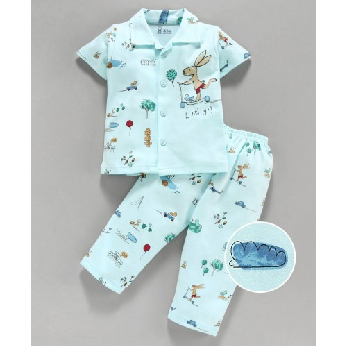 Pink Rabbit 100% Cotton Half Sleeves Night Suit Bunny Print - Blue
