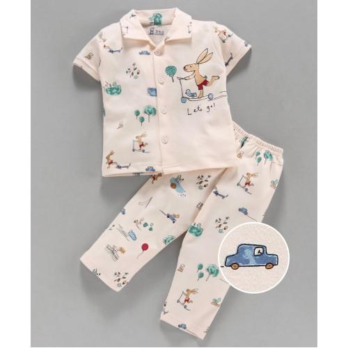 Pink Rabbit 100% Cotton Half Sleeves Night Suit Bunny Print - Peach
