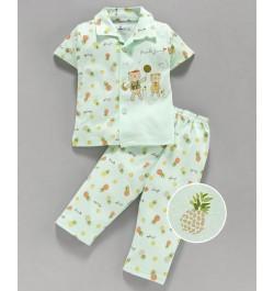 Pink Rabbit 100% Cotton Half Sleeves Night Suit Teddy Bear Print - Light Green