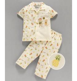 Pink Rabbit 100% Cotton Half Sleeves Night Suit Teddy Bear Print - Light Yellow