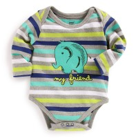 Mee Mee Full Sleeve Bodysuit (Grey Melange Stripes)