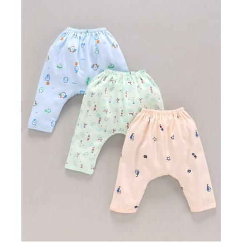 Pink Rabbit Printed Diaper Leggings Pack of 3 - Green Blue Peach