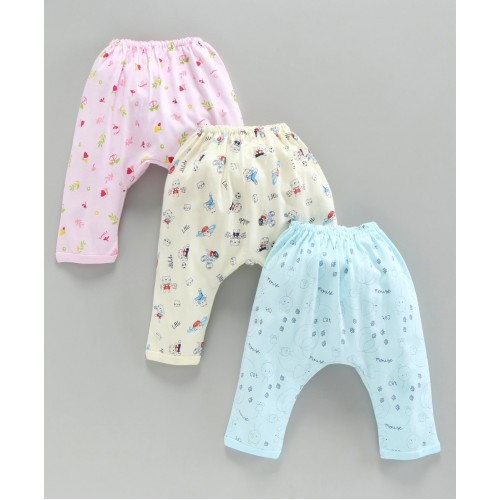 Pink Rabbit Printed Diaper Leggings Pack of 3 - Pink Yellow Blue