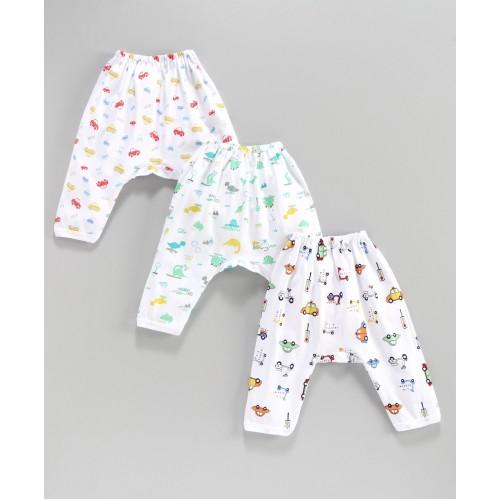 Pink Rabbit Soft Diaper Leggings Animal Print Pack of 3 - White