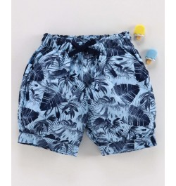 Cucumber Cotton Shorts Leaf Print - Blue