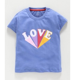 Cucumber Half Sleeves Top Love Print - Blue