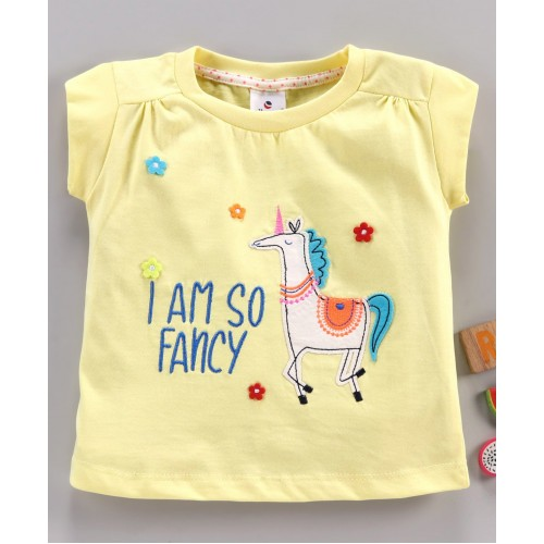 Ollypop Cap Sleeves T-Shirt Unicorn Patch - Yellow