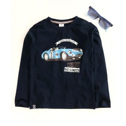 Ollypop Full Sleeves Tee Car Print - Navy