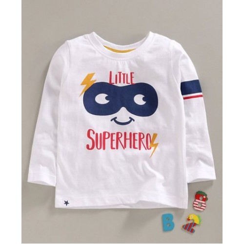 Ollypop Full Sleeves Tee Text Print - White