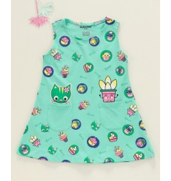 Cucumber Sleeveless Frock Kitty Print - Sea Green