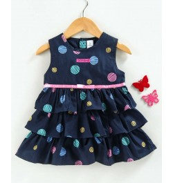 Doreme Sleeveless Frock Dots Print - Blue