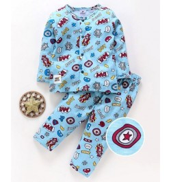 Buy Ollypop Full Sleeves Printed Night Suit for Kids and Infants - Blue Online in India