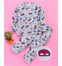 Buy Ollypop Full Sleeves Printed Night Suit for Kids and Infants - Grey Online in India