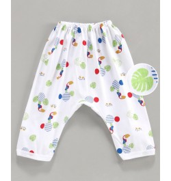 Pink Rabbit Diaper Legging Bird Print - White