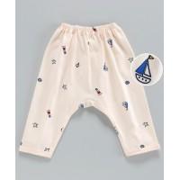 Pink Rabbit Diaper Legging Boat Print - Peach