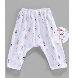 Pink Rabbit Diaper Legging Bunny Print - White