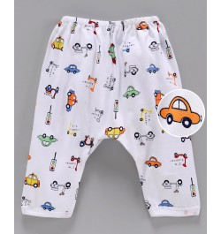 Pink Rabbit Diaper Legging Car Print - White