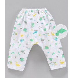 Pink Rabbit Diaper Legging Dino Print - White