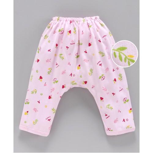 Pink Rabbit Diaper Legging Floral Print - Pink