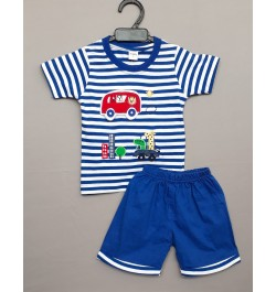 Krunchy kids top tee with shorts - Stripes Blue