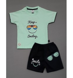 Little Mee Kids Top Tee with Shorts Printed - Light Green