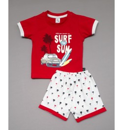 Little Mee kids top tee with shorts Printed - Red