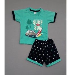 Little Mee kids top tee with shorts Printed - Surf The Sun - Green