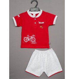 Buy Little Mee kids top tee with shorts - Red Online in India