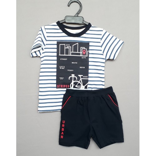 Ollypop kids top tee with shorts - Stripes Grey