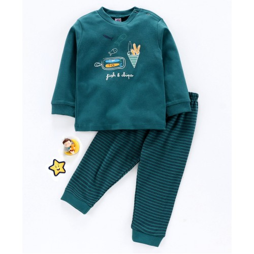 Zero Full Sleeves Tee with Lounge Pant - Dark Green