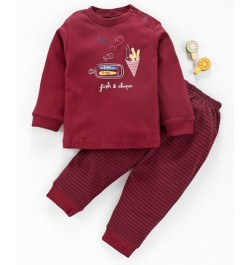 Zero Full Sleeves Tee with Lounge Pant - Maroon