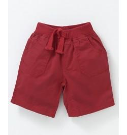 Cucumber Elastic Waist Solid Shorts - Maroon
