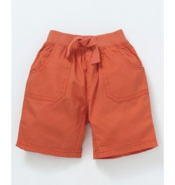 Cucumber Elastic Waist Solid Shorts - Peach