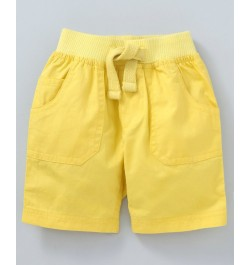 Cucumber Elastic Waist Solid Shorts - Yellow