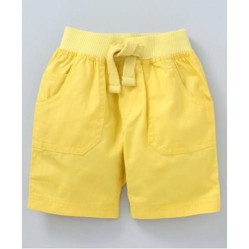 Cucumber Elastic Waist Solid Shorts - Yellow