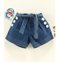 Cucumber Knee Length Denim Shorts with Fabric Belt - Blue