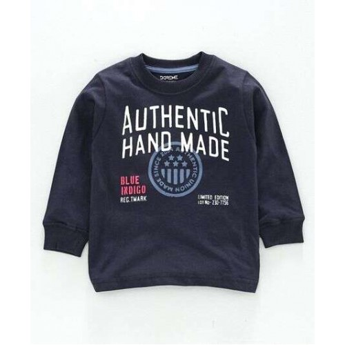 Doreme Full Sleeves T-Shirt Text Print - ( Authentic Hand Made - Navy Blue)