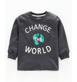 Doreme Full Sleeves T-Shirt Text Print - ( Change the World - Grey)