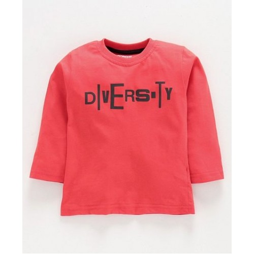 Doreme Full Sleeves Tee Text Print - ( Diversity - Rust Red)