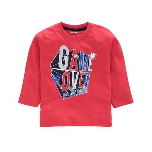 Doreme Full Sleeves Tee Text Print - ( Game Over - Red)