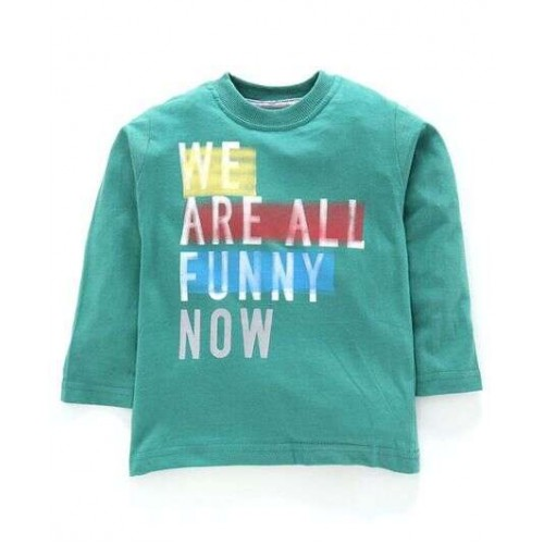 Doreme Full Sleeves Tee Text Print - ( We Are All Funny Now - Green)
