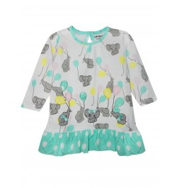Doreme Printed Frock - Baby Elephant - Green